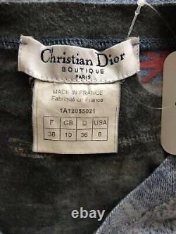 Rare Vtg Christian Dior by John Galliano Blue Denim Print Top AW2001 S