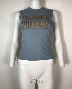 Rare Vtg Christian Dior by John Galliano Blue Suede J'adore Logo Tank Top XS