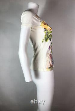 Rare Vtg Christian Dior by John Galliano Floral Logo Tee XS