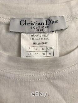 Rare Vtg Christian Dior by John Galliano Gothic Logo Print Top S