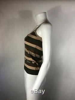 Rare Vtg Christian Dior by John Galliano Green & Brown Knit Logo Top XS