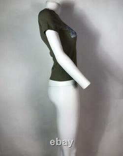 Rare Vtg Christian Dior by John Galliano Green Denim Print Logo Top XS