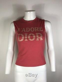 Rare Vtg Christian Dior by John Galliano J'adore Pink Tank Top XS