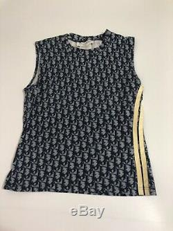 Rare Vtg Christian Dior by John Galliano Navy Monogram Tank Top S
