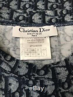 Rare Vtg Christian Dior by John Galliano Navy Monogram Top S