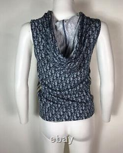 Rare Vtg Christian Dior by John Galliano Navy Trotter Logo Sleeveless Jacket S