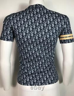 Rare Vtg Christian Dior by John Galliano Navy Trotter Print T Shirt S