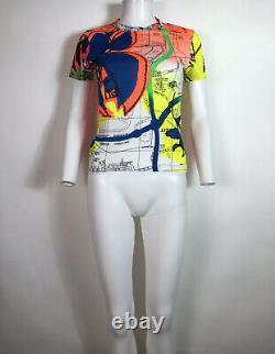 Rare Vtg Christian Dior by John Galliano Neon Map T-Shirt S