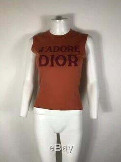Rare Vtg Christian Dior by John Galliano Orange'J'adore' Tank Top S