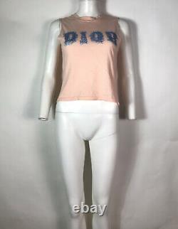 Rare Vtg Christian Dior by John Galliano Peach Denim Logo Print Top S