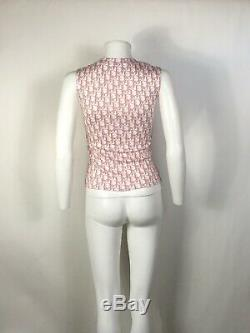 Rare Vtg Christian Dior by John Galliano Pink Trotter Monogram Tank Top XS
