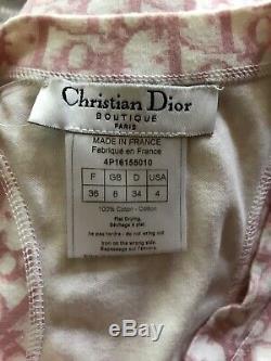 Rare Vtg Christian Dior by John Galliano Pink Trotter Monogram Tank Top XS