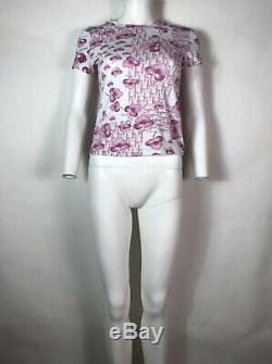 Rare Vtg Christian Dior by John Galliano Pink Trotter Monogram Top S