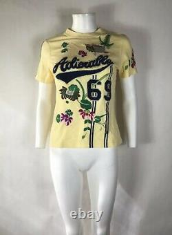 Rare Vtg Christian Dior by John Galliano Yellow Adiorable Embroidered Tee L