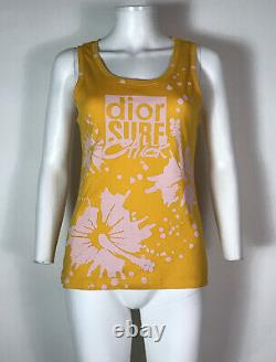 Rare Vtg Christian Dior by John Galliano Yellow Surf Chick Tank Top M