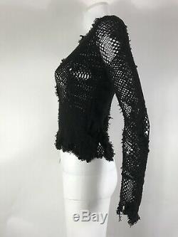 Rare Vtg Comme des Garcons Junya Watanabe Black Knit Top M SS2006