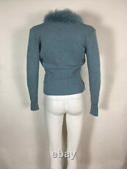 Rare Vtg Dolce & Gabbana 90s Blue Angora Fur Trim Knit Top S
