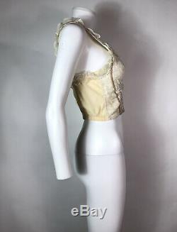 Rare Vtg Dolce & Gabbana 90s Ecru Lace Corset Bustier Top 42 S
