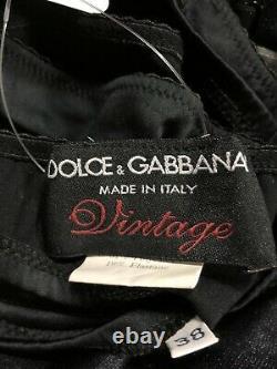 Rare Vtg Dolce & Gabbana Black Angel Charm Bustier XS