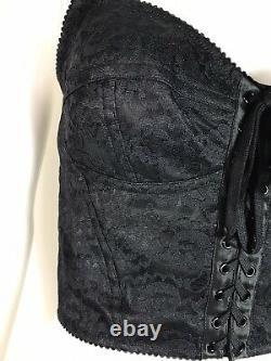 Rare Vtg Dolce & Gabbana Black Lace Crop Bustier Top M