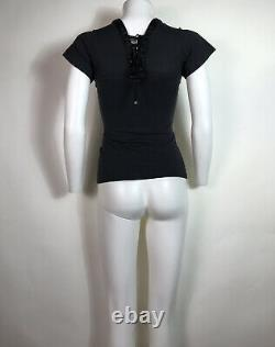 Rare Vtg Dolce & Gabbana Black Lace Up T-Shirt XS