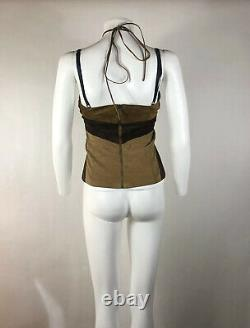 Rare Vtg Dolce & Gabbana Brown Suede Butterfly Corset Top S
