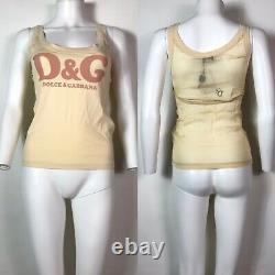 Rare Vtg Dolce & Gabbana D&G Light Yellow Logo Sheer Back Tank Top XS