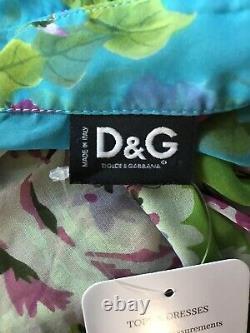 Rare Vtg Dolce & Gabbana Green Blue Floral Print Silk Top M