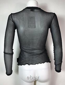 Rare Vtg Dolce & Gabbana Jeans Virgin Mary Sheer Black Mesh Top S