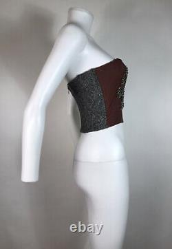 Rare Vtg Dolce & Gabbana Jewel Velvet Tweed Corset Bustier Top XS