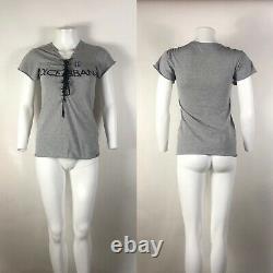 Rare Vtg Dolce & Gabbana Lace Up Gray Logo Tee M