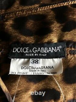 Rare Vtg Dolce & Gabbana Leopard Print Silk Top XS