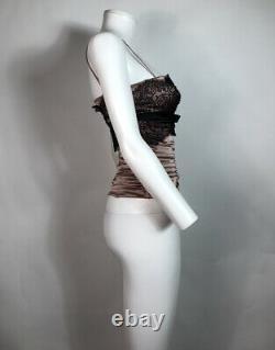 Rare Vtg Dolce & Gabbana Pink & Black Lace Silk Satin Corset Top XS