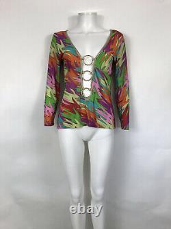 Rare Vtg Dolce & Gabbana Psychedelic Multicolor Hand Print Hoop Top L