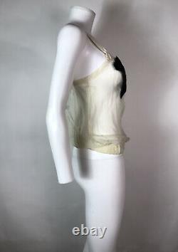 Rare Vtg Dolce & Gabbana Sheer Silk Ecru Black Bow Top XS 36