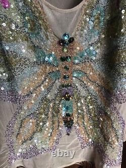 Rare Vtg Emanuel Ungaro Paris Butterfly Embellished Sheer Tank Top M