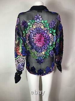 Rare Vtg Gianni Versace 90s Black Sheer Devore Velvet Shirt L