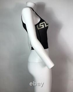 Rare Vtg Gianni Versace Black Greek Key Crop Tank Top XS
