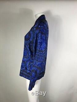 Rare Vtg Gianni Versace Blue Barocco Crown Print Silk Shirt S 40