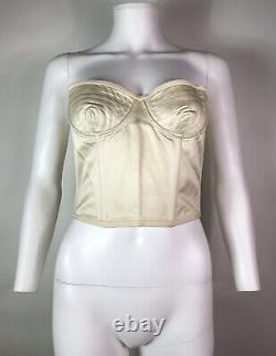 Rare Vtg Gianni Versace Ecru Cotton Corset Bustier Top XS 38