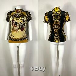 Rare Vtg Gianni Versace Gold Print Velvet Top M