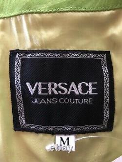 Rare Vtg Gianni Versace Jeans Green Cropped Medusa Zip Vest Top M