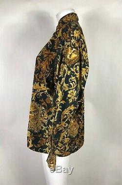 Rare Vtg Gianni Versace Jeans Yellow Gold Baroque Print Medusa Shirt S