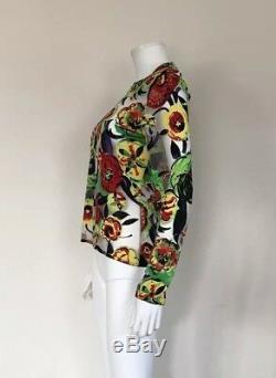 Rare Vtg Gianni Versace Sheer Floral Top Sz M/L