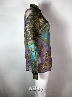 Rare Vtg Gianni Versace Versus Purple Multicolor Top S