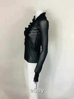 Rare Vtg Jean Pail Gaultier Black Black Sheer Cutout Top S