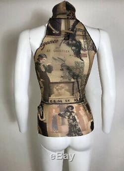 Rare Vtg Jean Paul Gaultier 1920s Print Brown Sheer Mesh Top M