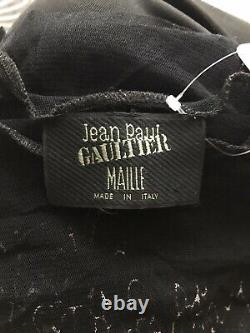 Rare Vtg Jean Paul Gaultier 90s Black Multicolor Print Sheer Print Top L