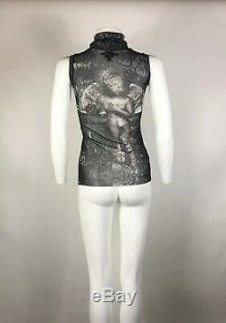 Rare Vtg Jean Paul Gaultier Angel Print Mesh Top S