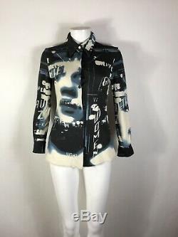 Rare Vtg Jean Paul Gaultier Black & Blue Face Print Shirt S